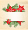 floral garland or red poinsettia and empty space vector image vector image