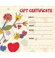 Girft certificate retro design vector image vector image
