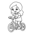 girl riding new green bicycle bw vector image vector image