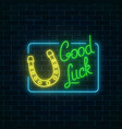 glowing neon sign with good luck wish and vector image