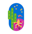 green cactus mexico background isolated vector image