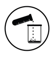 Icon of chemistry beaker pour liquid in flask vector image vector image