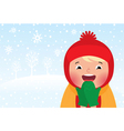 Kid enjoys the snow and winter vector image