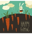 Little rabbit and carrot field vector image vector image