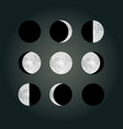 moon phases on a dark background eps10 vector image