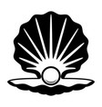 pearl in a shell black and white icon vector image