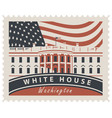 postage stamp with white house and flag usa vector image vector image