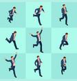 set isometric running businessman businessman man vector image vector image
