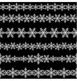 Set of seamless snowflakes borders vector image