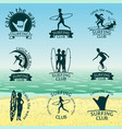 set of surfing club logos vector image vector image