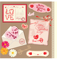 Set of Vintage Valentines Day Postcards vector image vector image