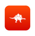 stegosaurus dinosaur icon digital red vector image vector image