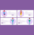 students set web posters buttons pupils boys girls vector image vector image