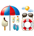 summer set with umbrella and sun vector image vector image