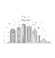texas dallas architecture line skyline vector image vector image