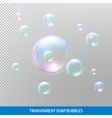Transparent soap bubbles Realistic soap bubbles vector image vector image
