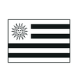 Uruguay flag monochrome on white background vector image vector image