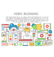 video blogger flat line concept computer screen vector image vector image