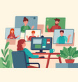 video conference woman at home chatting vector image vector image