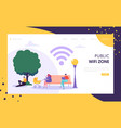 wifi wireless network landing page template vector image vector image