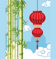 background template with chinese lantern and vector image