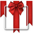 white festive background with red bow vector image