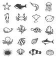 Cartoon Sea Creature Icons Collection vector image