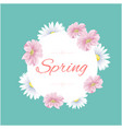 spring circle flower green background image vector image