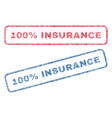 100 percent insurance textile stamps vector image vector image