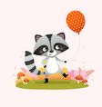 a cute raccoon holding a balloon vector image