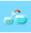 Ambition and Challenge Concept Goldfish Escape vector image vector image
