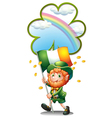 An old man holding the flag of Ireland vector image vector image
