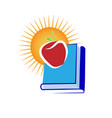 apple with stack of books icon vector image vector image