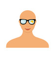 bald head woman with sunglasses blue sky sun and vector image vector image