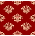 Beige and red floral damask seamless vector image vector image