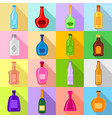 bottles icons set flat style vector image vector image