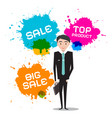 businessman with sale top product splashes vector image vector image