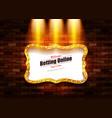 casino banner on a shining retro billboard vector image vector image