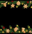 christmas and new year seamless horizon border vector image vector image
