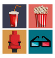 cinema entertainment set icons vector image