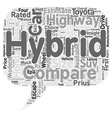 compare hybrid cars 1 text background wordcloud vector image vector image