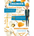 construction engineer profession equipment vector image vector image