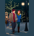couple walking on street on a winter evening vector image vector image