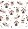 cute little dogs and dog house seamless pattern vector image