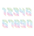 digits set parallel lines vector image
