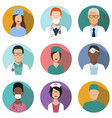 doctors and nurses avatar set medical icons vector image vector image