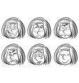doodle girl with different facial expressions vector image vector image