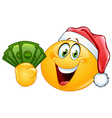 emoticon with santa hat and dollars vector image vector image