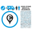 Euro Bank Map Pointer Icon with 1000 Medical vector image vector image