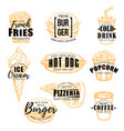 fast food label with burger drink and dessert vector image vector image